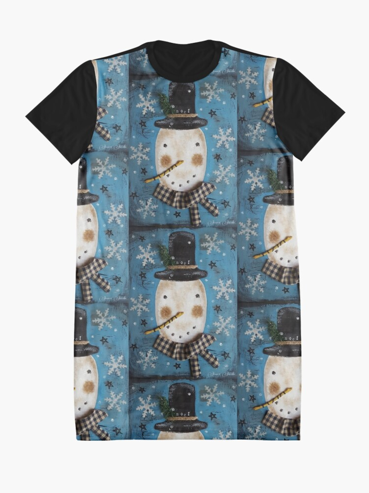 Alternate view of Frosty Primitive Snowman  Graphic T-Shirt Dress