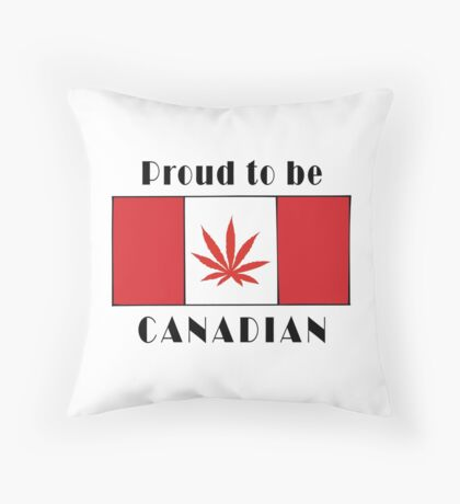 Canadian Flag Weed Throw Pillow