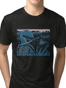 Dimorphodon and Scelidosaurus - Purple and Blue Tri-blend T-Shirt