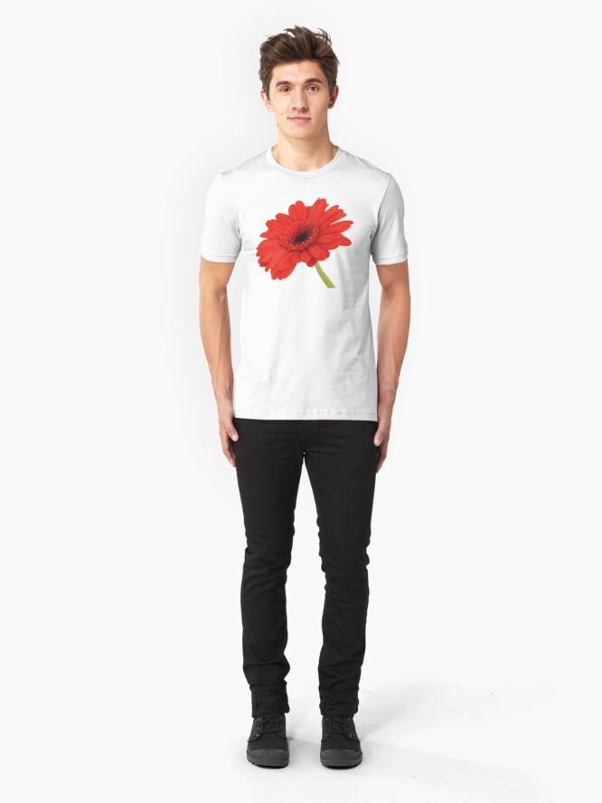 Alternate view of Red Gerbera Daisy Slim Fit T-Shirt
