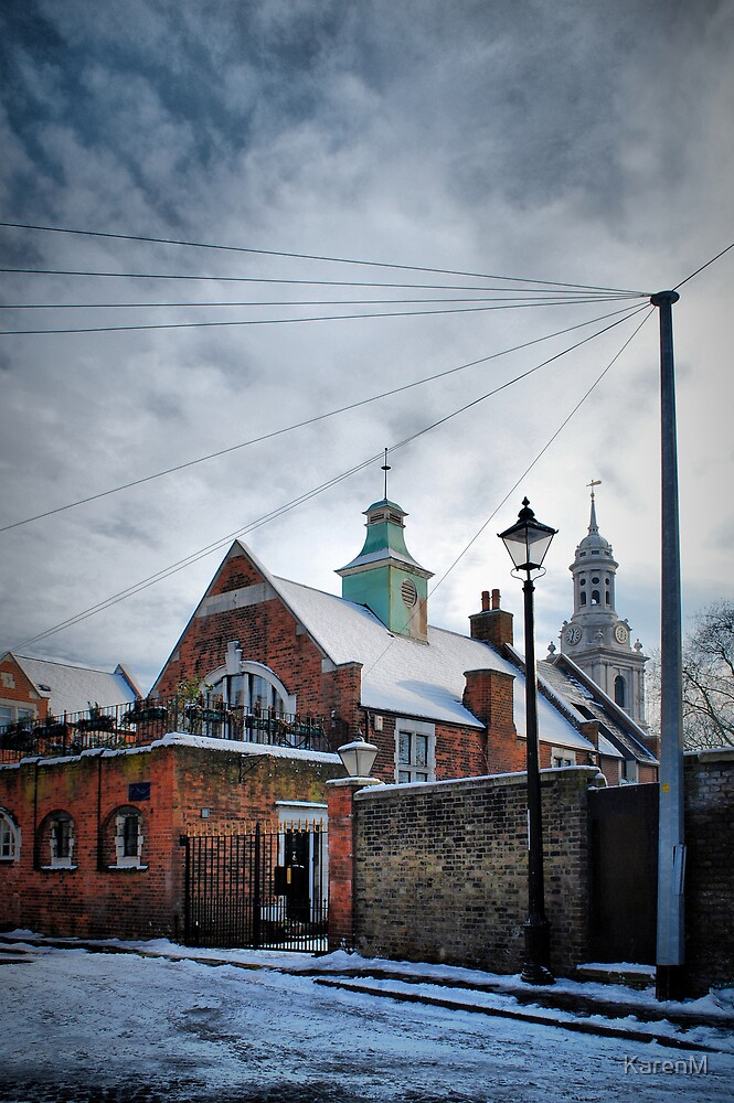 Wires, Posts and Steeple by KarenM