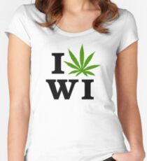 I Love Wisconsin Marijuana Cannabis Weed  Women's Fitted Scoop T-Shirt