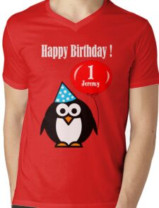 Personalized birthday card penguin with balloon geek funny nerd Mens V-Neck T-Shirt