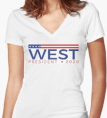 West for President Women's Fitted V-Neck T-Shirt