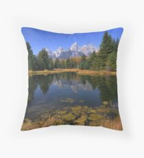 Schwabacher Landing Reflections - The Tetons Throw Pillow
