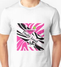 Pink black white zebra martini 21st finally legal geek funny nerd Unisex T-Shirt