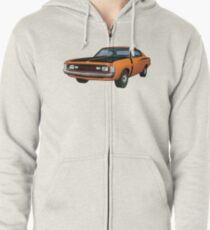 Chrysler Valiant VH Charger - Orange Zipped Hoodie