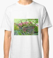 Vintage Wheel Garden Scene - Digital Oil  Classic T-Shirt