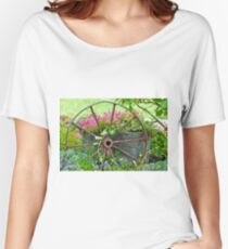 Vintage Wheel Garden Scene - Digital Oil  Women's Relaxed Fit T-Shirt