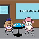 French Dogs at a Cafe by ValeriesGallery