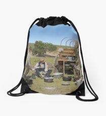 Texas cowboys in 1900 — a chuckwagon lunch during a cattle roundup Drawstring Bag