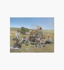 Texas cowboys in 1900 — a chuckwagon lunch during a cattle roundup Art Board Print