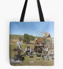 Texas cowboys in 1900 — a chuckwagon lunch during a cattle roundup Tote Bag