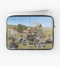 Texas cowboys in 1900 — a chuckwagon lunch during a cattle roundup Laptop Sleeve