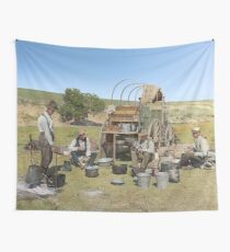 Texas cowboys in 1900 — a chuckwagon lunch during a cattle roundup Wall Tapestry