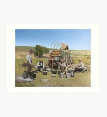 Texas cowboys in 1900 — a chuckwagon lunch during a cattle roundup Art Print