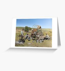 Texas cowboys in 1900 — a chuckwagon lunch during a cattle roundup Greeting Card