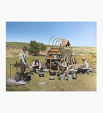 Texas cowboys in 1900 — a chuckwagon lunch during a cattle roundup Photographic Print
