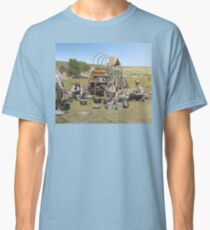 Texas cowboys in 1900 — a chuckwagon lunch during a cattle roundup Classic T-Shirt