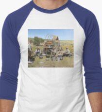 Texas cowboys in 1900 — a chuckwagon lunch during a cattle roundup Baseball ¾ Sleeve T-Shirt