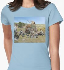 Texas cowboys in 1900 — a chuckwagon lunch during a cattle roundup Fitted T-Shirt