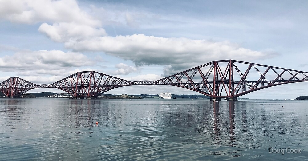 Forth Bridge with cruise ship by Doug Cook