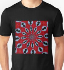 Patterned Kaleidoscope in Red and Light Blue Unisex T-Shirt