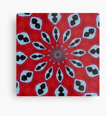 Patterned Kaleidoscope in Red and Light Blue Metal Print
