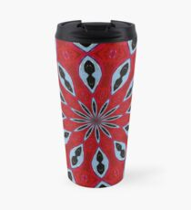Patterned Kaleidoscope in Red and Light Blue Travel Mug