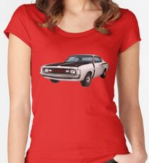 Chrysler Valiant VH Charger - White Women's Fitted Scoop T-Shirt