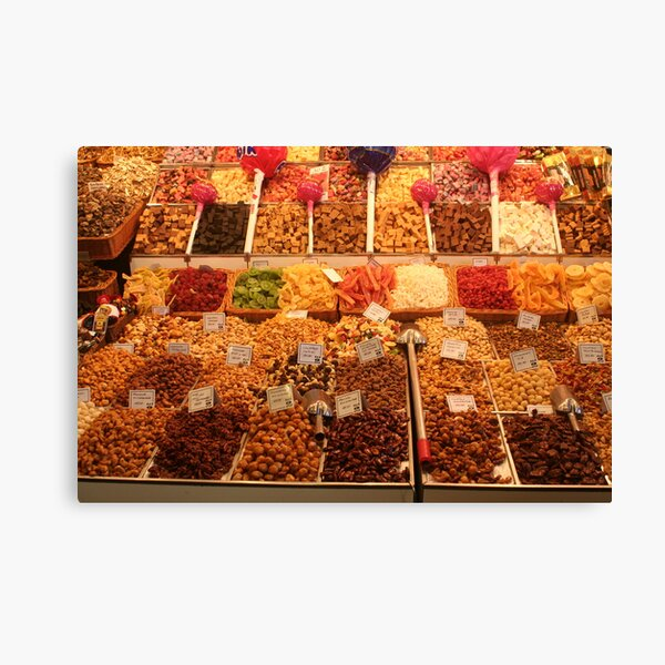 Boqueria market Barcelona - Nuts, dried fruits and sweets Canvas Print