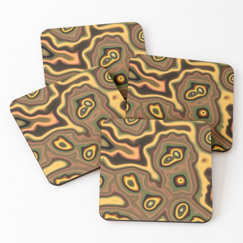 Teal Outlines Coasters (Set of 4)