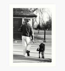 One Man and his dog ......and cat Art Print