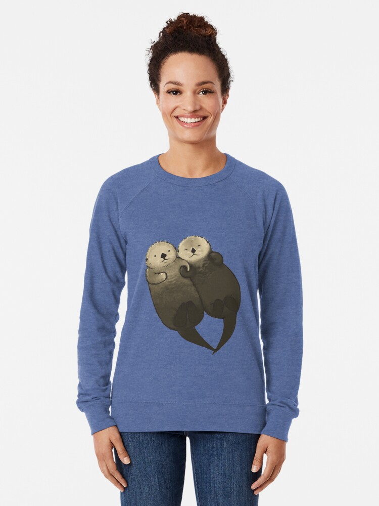 Alternate view of Significant Otters - Otters Holding Hands Lightweight Sweatshirt