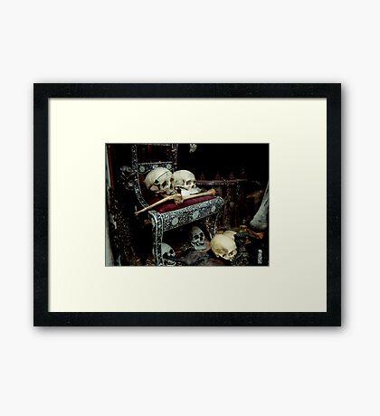 Skulls and Bones on the Throne Framed Print