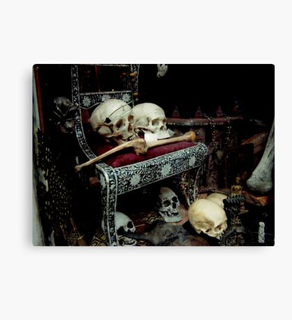 Skulls and Bones on the Throne Canvas Print
