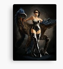 Mistress Boots and her Utahraptor Canvas Print