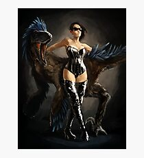 Mistress Boots and her Utahraptor Photographic Print