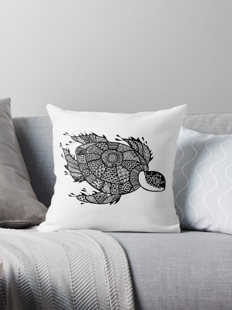 Turtle Black and White Doodle Art by MARTY WOODS