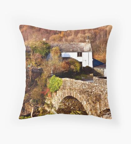 Cottage on the River Duddon Throw Pillow