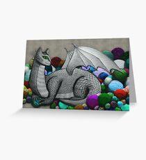 Tabby Dragon with Yarn Hoard Greeting Card