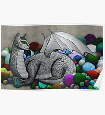 Tabby Dragon with Yarn Hoard Poster