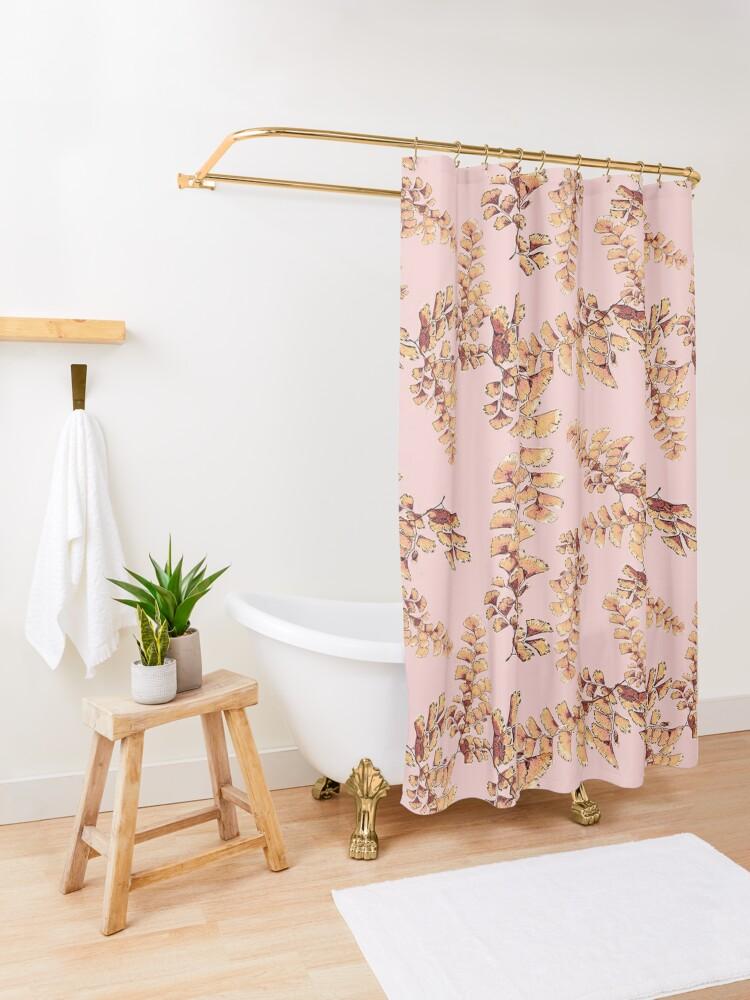 Alternative Ansicht von Goldene Blätter Muster Duschvorhang