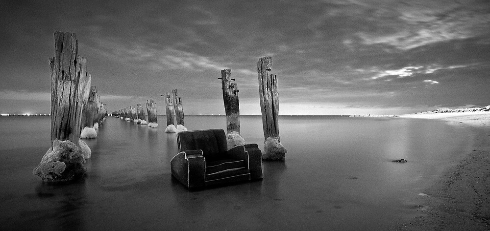 my ugly comfy art deco op shop chair in the sea by Glen Barton
