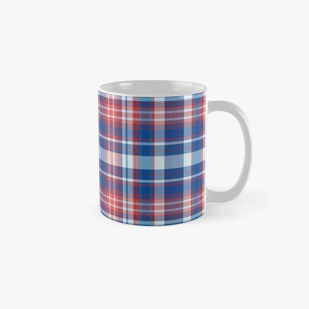 Rot, weiß und blau kariert Tasse