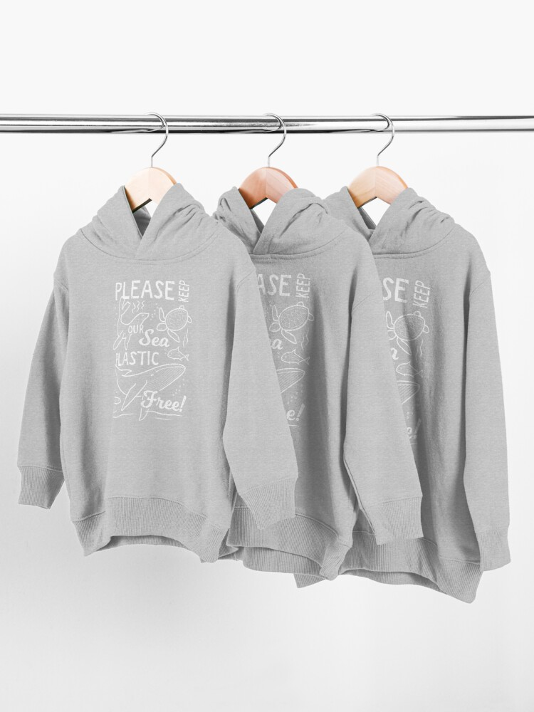 Alternate view of Please Keep Our Sea Plastic Free - Marine Animals Toddler Pullover Hoodie