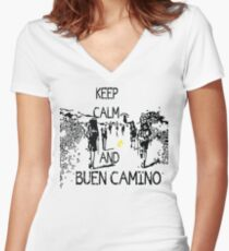 Keep calm and buen camino Fitted V-Neck T-Shirt