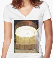 Carousel Long exposure  Women's Fitted V-Neck T-Shirt