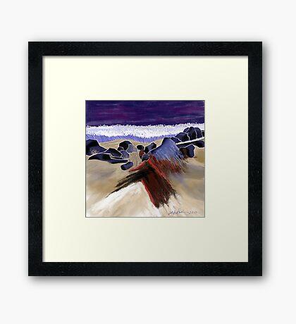 """""""Sandy Beach"""" - Beach scene. Framed Print"""