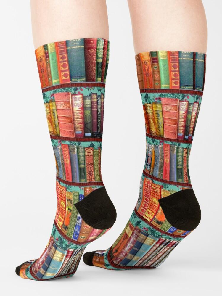 Alternate view of Christmas vintage books, holly  Socks